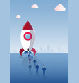 business people group walking to space ship rocket vector image vector image