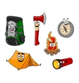 Cartoon camping and travel objects vector image