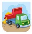 cartoon dump truck brought sand and pours it out vector image vector image