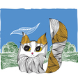 Cat on the nature vector image