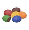 Chocolate dragee icon in cartoon style isolated on vector image