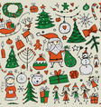 christmas set seamless pettern for your design vector image vector image