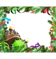 Christmas wreath with green and brown baubles vector image vector image