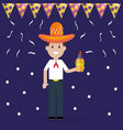 cinco de mayo celebration with man and tequila vector image