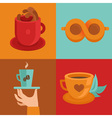 coffee concepts and signs in flat style - cups and vector image