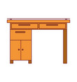 colorful graphic of wooden home desk with drawers vector image vector image