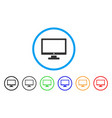 computer display rounded icon vector image vector image