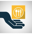concept e-commerce hand with restaurant icon vector image vector image
