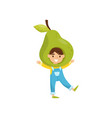 cute little girl in fruit headwear adorable child vector image