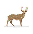 deer in the christmas garland vector image
