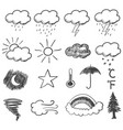 doodle of weather icons vector image vector image