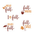 fall lettering set vector image vector image