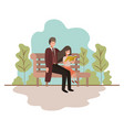 father and daughter sitting in park chair avatar vector image vector image