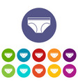 female cotton panties icons set flat vector image vector image