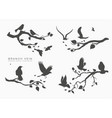 figure set flock birds on tree branch vector image vector image