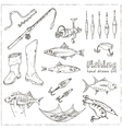 Fishing tackle tools Sketches Hand-drawing vector image vector image