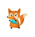 Fox With The Fish vector image vector image