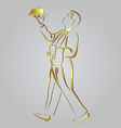 Golden line sketch waiter vector image