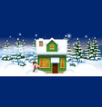 green wooden house with a snowman in the winter vector image vector image