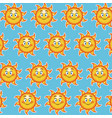 happy funny sun smile wallpaper pattern cartoon vector image vector image