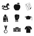 higher school icons set simple style vector image vector image