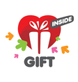 logo Gift Box and heart vector image