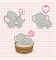 lovely mom and baby elephant with love vector image vector image