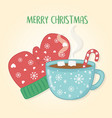 merry christmas card with chocolate cup and gloves vector image vector image