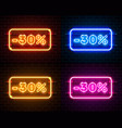 neon 30 off text banner color set night sign vector image vector image