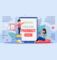 online pharmacy mobile application infographic vector image vector image