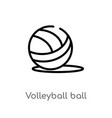 outline volleyball ball icon isolated black vector image vector image