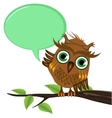 Owl on a branch with a blank speech bubble vector image