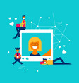 people reacting to social media network photo post vector image vector image