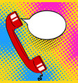 pop art background red old phone handset and vector image vector image