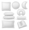 realistic pillow different shaped soft white vector image vector image