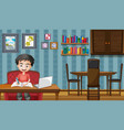 scene with boy working on computer at home vector image