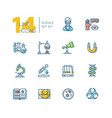 science - colored modern single line icons set vector image vector image