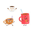 set of funny characters from hot drink vector image vector image