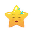 sleeping star shaped comic emoticon vector image vector image