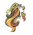 stylized portrait of cartoon pretty fashion girl vector image