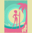 surfer woman and sea waves poster background vector image vector image
