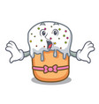 surprised easter cake mascot cartoon vector image vector image