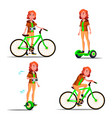 teen girl riding hoverboard bicycle city vector image