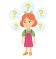 thinking caucasian girl with question marks vector image