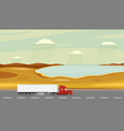 truck on the road autumn rural landscape with vector image vector image