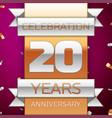 twenty years anniversary celebration design vector image vector image