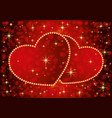 two romantic hearts vector image vector image