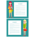 two students girls in cartoon style smiling woman vector image vector image