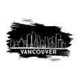 vancouver skyline silhouette hand drawn sketch vector image vector image
