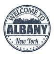welcome to albany sign or stamp vector image vector image